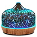 500ml Essential Oil Diffuser 3D Glass Aromatherapy Ultrasonic Humidifier - 7 Color Changing LEDs, Auto Shut-Off,Timer Setting, BPA Free for Home Hotel Yoga SPA Gift
