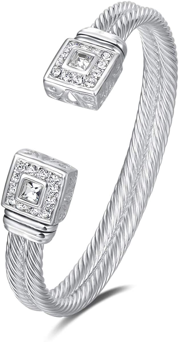 UNY Designer Inspired Jewelry Double Cable Wire Square CZ Antique Bangle Elegant Beautiful