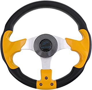 Jili Online Cool Yellow Black Aluminum Alloy Yacht Boat Steering Wheel 3 Spoke 31.5cm/12.4 DIY
