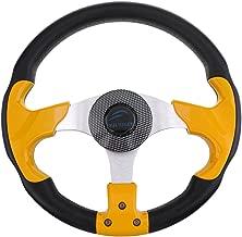 kesoto 3 Spoke Boat Steering Wheel 12.4inch/31.5cm Dia with Center Cap, Aluminum Alloy, Yellow Black