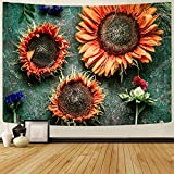 HLW Psychedelic Sunflower Tapestry Gift For Women Wall Hanging Gift For Women,Trippy Tapestry Hippie wall Art Tapestry Home Decor for Bedding Room Living Room (51'x59', sunflower-03)