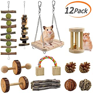 KATUMO Hamster Chew Toys, 12 PCS Natural Wooden Pine Guinea Pigs Rats Chinchillas Toys Accessories Suitable for Rabbits Gerbils Small Pets Accessories Chewing and Playing Exercise Teeth Care