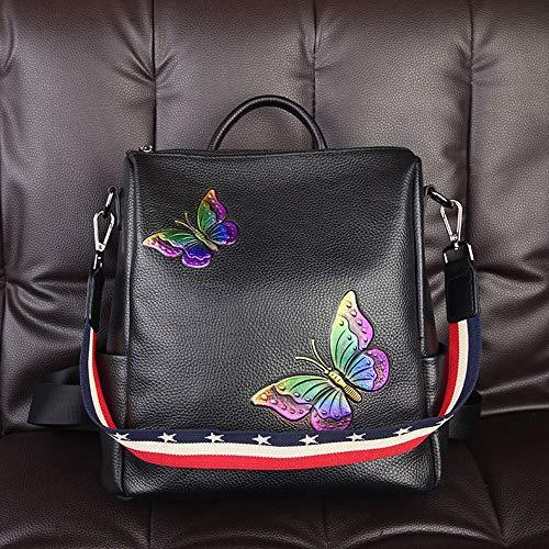 Hancoc Butterfly Embroidered Women's Backpack Shoulder Bag Top Layer Leather Joker Backpack Outdoor Travel Backpack (Color : Purple)
