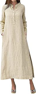 fgsdd Damen-Kleid, Kaftan, Baumwolle, langärmelig, einfarbig, mit Knopf, V-Ausschnitt, Übergröße, Maxi-Hemdkleid, Übergröße