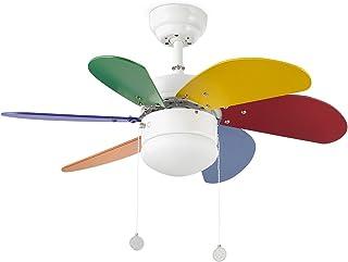 Faro Barcelona 33179 - PALAO Ventilador de techo con luz 6 palas de MDF multicolor, Diámetro 760mm, Accionado por cadena