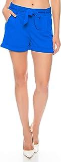 Crazy Age Damskie szorty Chino krótkie spodnie z kokardką do wiązania letnie szorty jednokolorowe