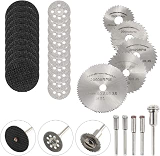 DAYREE 30pcs Cutting Wheel Set 1/8 Inches Shank Diamond Cutting Disc Mini HSS Saw Blades and Resin Metal Cutting Wheels Disc Tools with Mandrel & Screwdriver for Dremel Rotary Tools