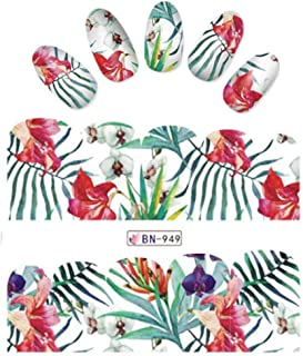Tropical iNspired Nail Wraps Hibiscus Flowers and Leaves Decals Sticker Salon Quality Nail Art - 1 Sheet