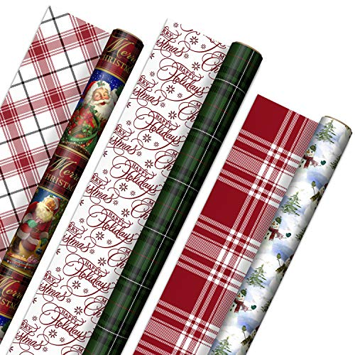 Hallmark Reversible Christmas Wrapping Paper (3 Rolls: 120 sq. ft. ttl) Vintage Santa, Snowmen, Traditional Green, Red and White Plaids