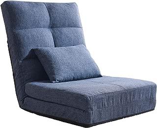 タンスのゲン 座椅子 リクライニング ソファベッド シングル ハイバック ネイビー 15210053 00 (64988)