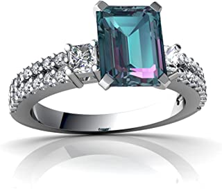 14kt Gold Lab Alexandrite and Diamond 8x6mm Emerald_Cut Engagement Ring