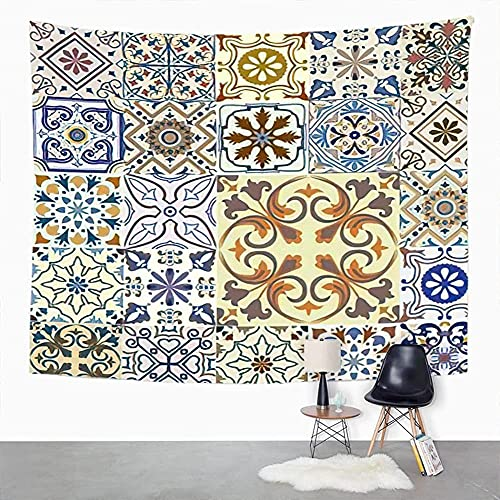 Tapiz de estilo de azulejos marroquíes Negro Blanco Redondo Patchwork sin costuras Geometría psicodélica Tapiz estético Hippie Colgante de pared Boho 90x70 pulgadas