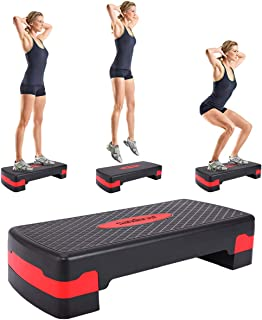 Sandinrayli 27'' Fitness Aerobic Step Riser Trainer Height Adjustable Exercise Stepper, Black and Red