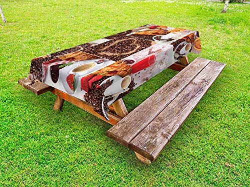 ABAKUHAUS Kaffee Outdoor-Tischdecke, Croissant und Kaffee, dekorative waschbare Picknick-Tischdecke, 145 x 305 cm, Mehrfarbig