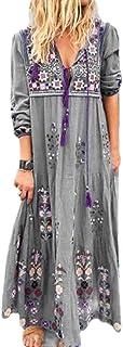 MK988 Women Drawstring Casual Long Sleeve V-Neck Flower Print Bohemian Print Beach Evening Party Maxi Dress