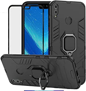 DuoLide for Huawei Honor 8X Case, 2 in 1 Hybrid Heavy Duty Armor Shockproof Defender Kickstand Dual Layer Bumper Hard Back Case Cover Tempered Glass Screen Protector,Black