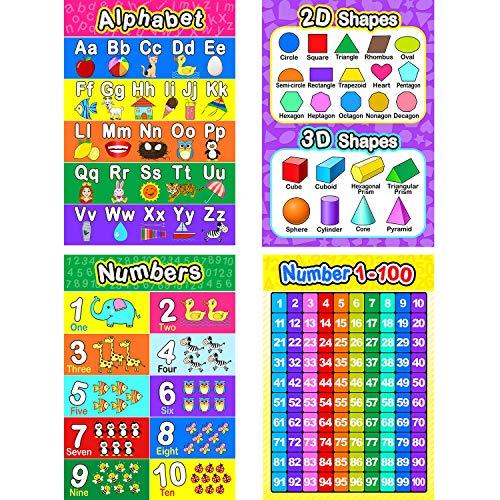 Pädagogisch Vorschule Poster für Kleinkinder und Kinder mit 20 Klebe Punkten, Ideal für Kindergarten Klassenzimmer - Lehren Nummer Alphabet Farben Tage und Mehr, 16 x 11 Zoll (4 Stücke)