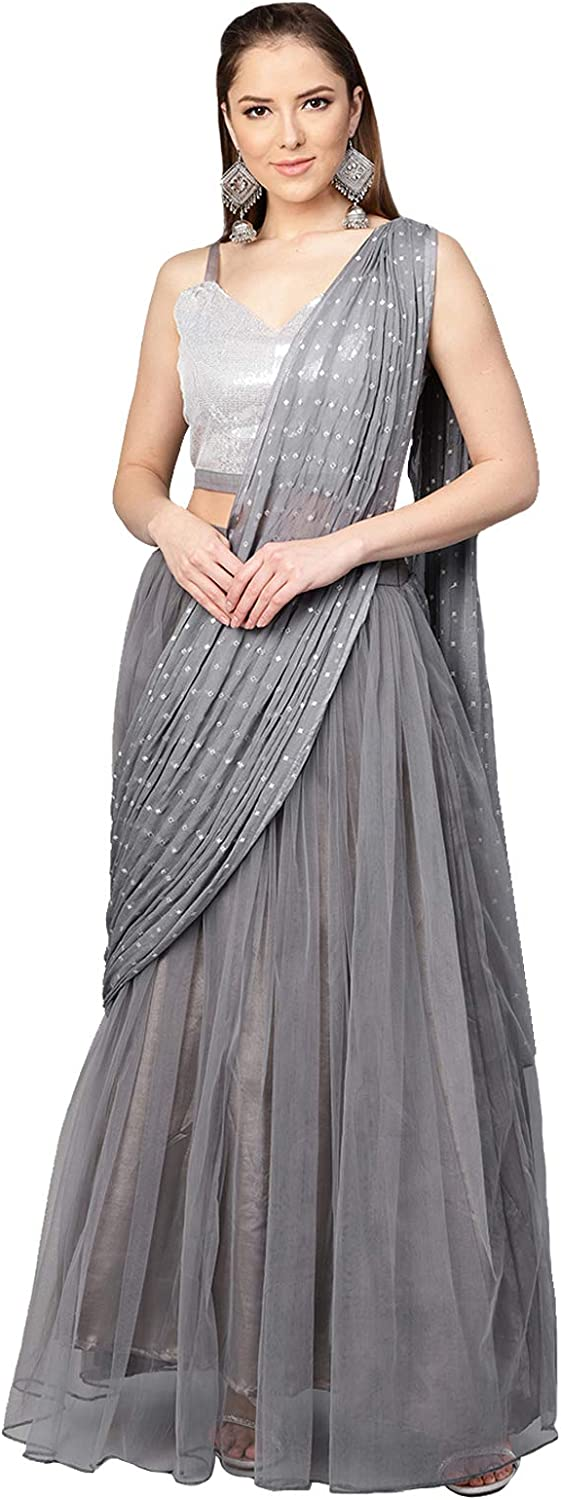 Inddus Grey Solid Lehenga Saree with Blouse Piece