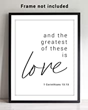 """1 Corinthians 13 Bible Verse Wall Art - 11x14 UNFRAMED Print - Makes a Great Religious Inspirational & Motivational Typography Decor Gift. """"And the Greatest of These is Love"""""""