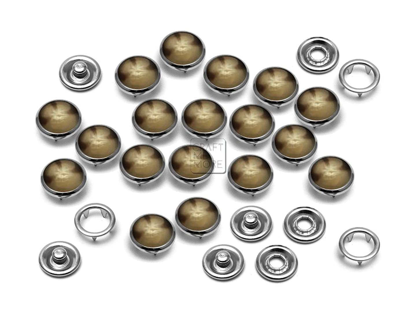 CRAFTMEmore 20 Sets 10.5MM Pearl Snaps Fasteners for Western Shirt Clothes Popper Studs (Brown Marble)