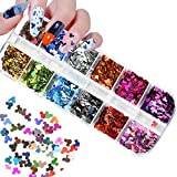 12 Colors Mickey Mouse Nail Art Glitter Sequins Nail Art Supplies 3D Minnie Mouse Nail Art Flakes Holographic Nail Sequin Colorful Design Glitter Stickers Manicure Tips Charms DIY Decoration