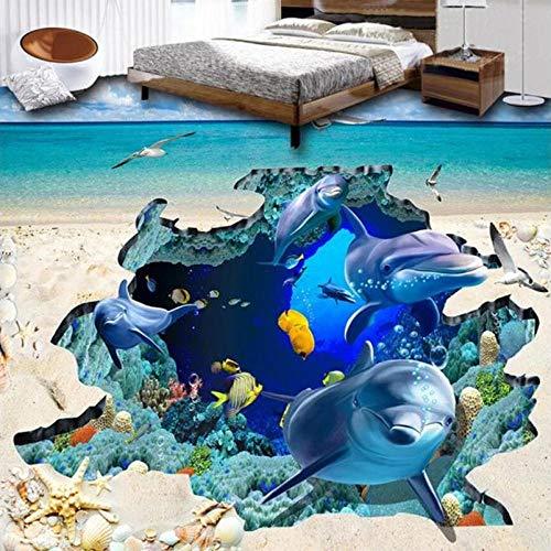 de suelo 3d pegatina pared de vinilo autoadhesivo Custom 3D Photo Floor Wallpaper Cocina Ground Ocean World Animales Dolphin Wall Mural Papel de pared PVC Autoadhesivo Wall Stickers-200 * 140cm