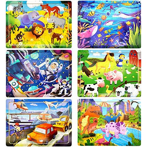 Puzzle en Bois Enfant, 6Pcs 60 Pièces Jouet Puzzle Enfant 3 4 5 6 Ans, Jouet Montessori Éducatif avec 6 Thèmes, Animaux Ferme Dinosaures Monde Sous Marin Espace Transport, Cadeau pour Garçon Fille