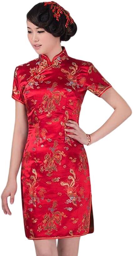 Hzjundasi Chino Tradicional Dragón Fénix Brocado Actuación Qipao Vestido Mujer Cheongsam Vestido de Noche: Amazon.es: Ropa y accesorios