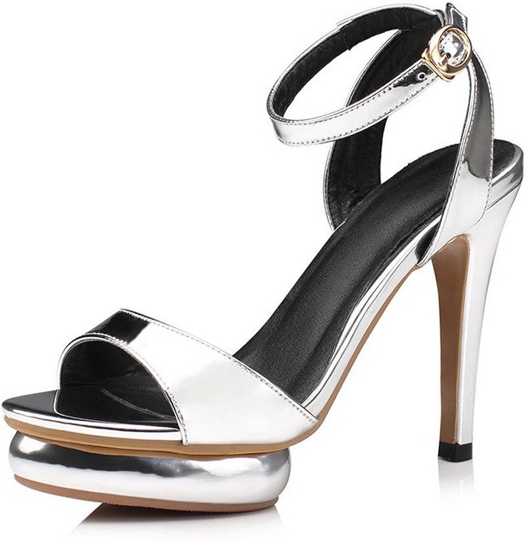 AmoonyFashion Women's High-Heels Enamelled Leather Solid Buckle Open-Toe Sandals