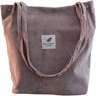 Funtlend Handtasche Damen groß Cord Tasche Damen Handtasche Shopper Damen für Uni Arbeit Mädchen Schule Grau
