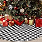 CHICHIC 48 Inch Buffalo Plaid Tree Skirt Christmas Tree Skirt Buffalo Check Tree Skirt Black and White Buffalo Plaid Tree Skirt Xmas, Double Layers for Christmas Party Decorations Holiday Ornaments