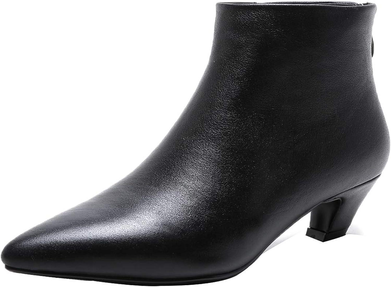 Jushee Womens Jutooth 4.5 cm Low-Heel Ankle Zipper Wool Boots