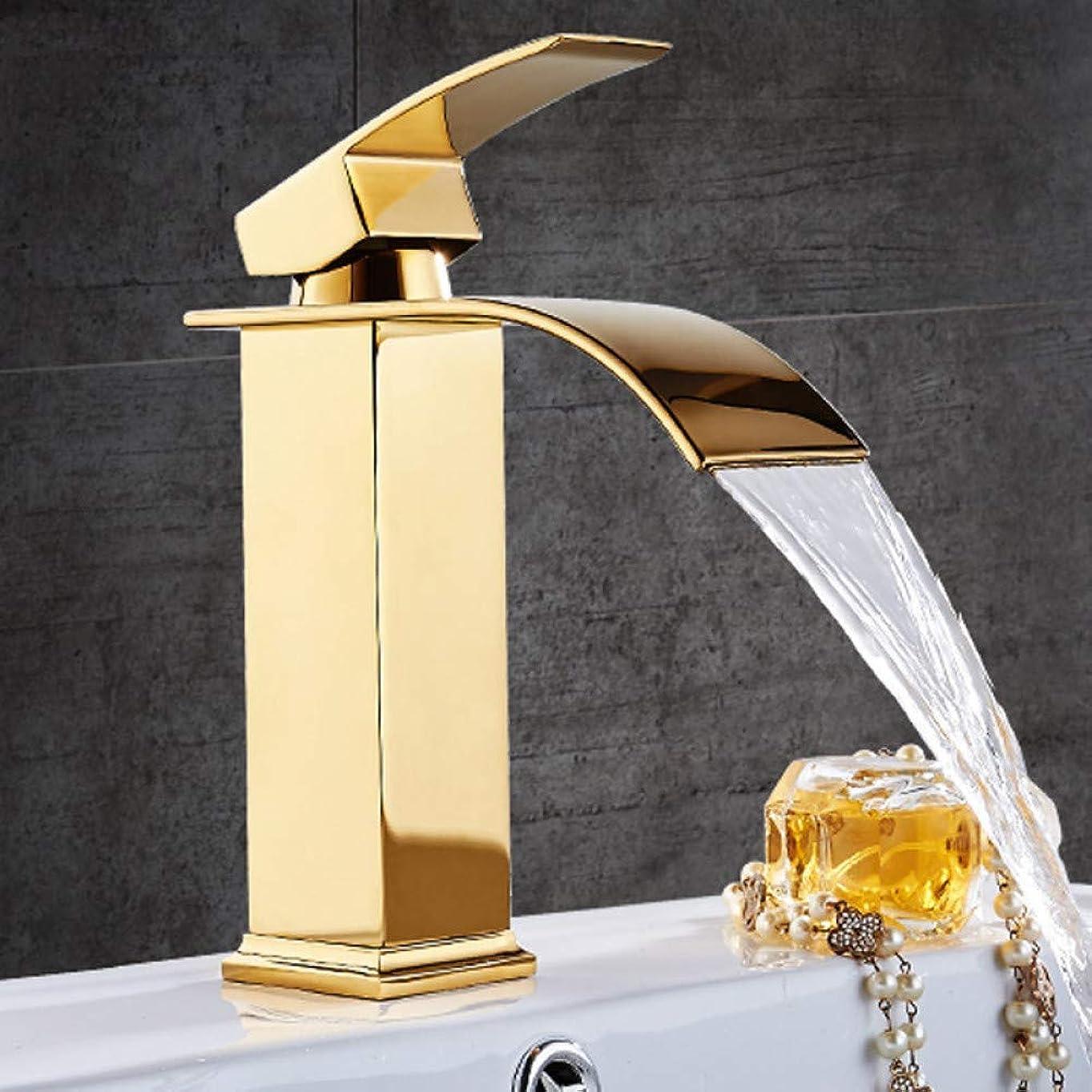 有害ポルノズームインするHF-ZEN 立体水栓 万能水栓 シングルハンドルの蛇口シンクホット&コールドフラット口洗面タップ、真鍮の滝流域の浴室の蛇口ミキサー