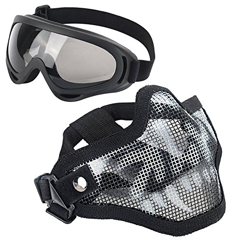 LAOSGE Airsoft Mask,Mesh Half Face Skull Set with UV 400 Anti Fog Goggles( 1 PACK BBs included,80 PCS)