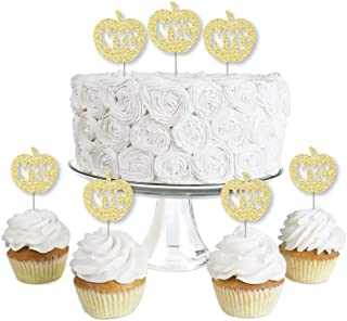 Big Dot of Happiness Gold Glitter NYC Apple - No-Mess Real Gold Glitter Dessert Cupcake Toppers - New York City Party Clea...