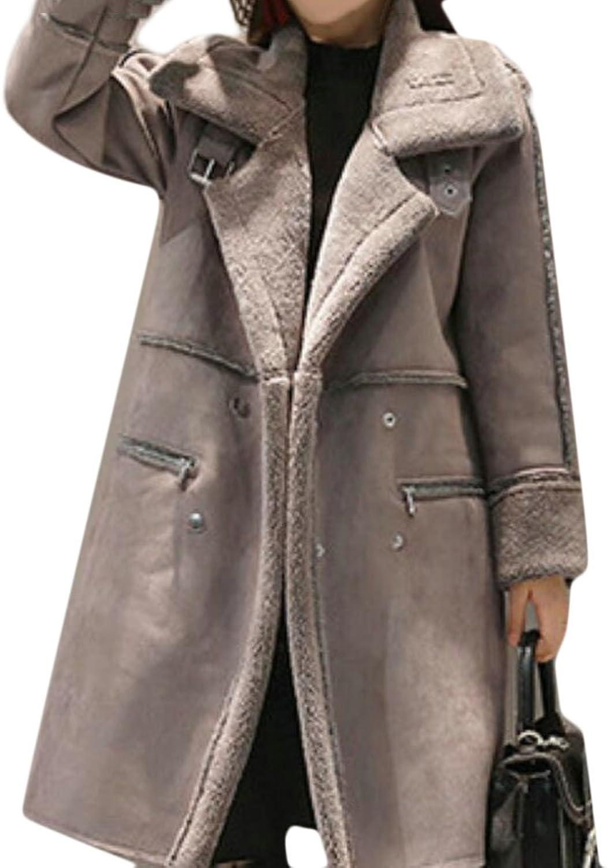 GAGA Women's Faux Suede Long Sleeve Lapel Long Coat Outfit Jackets