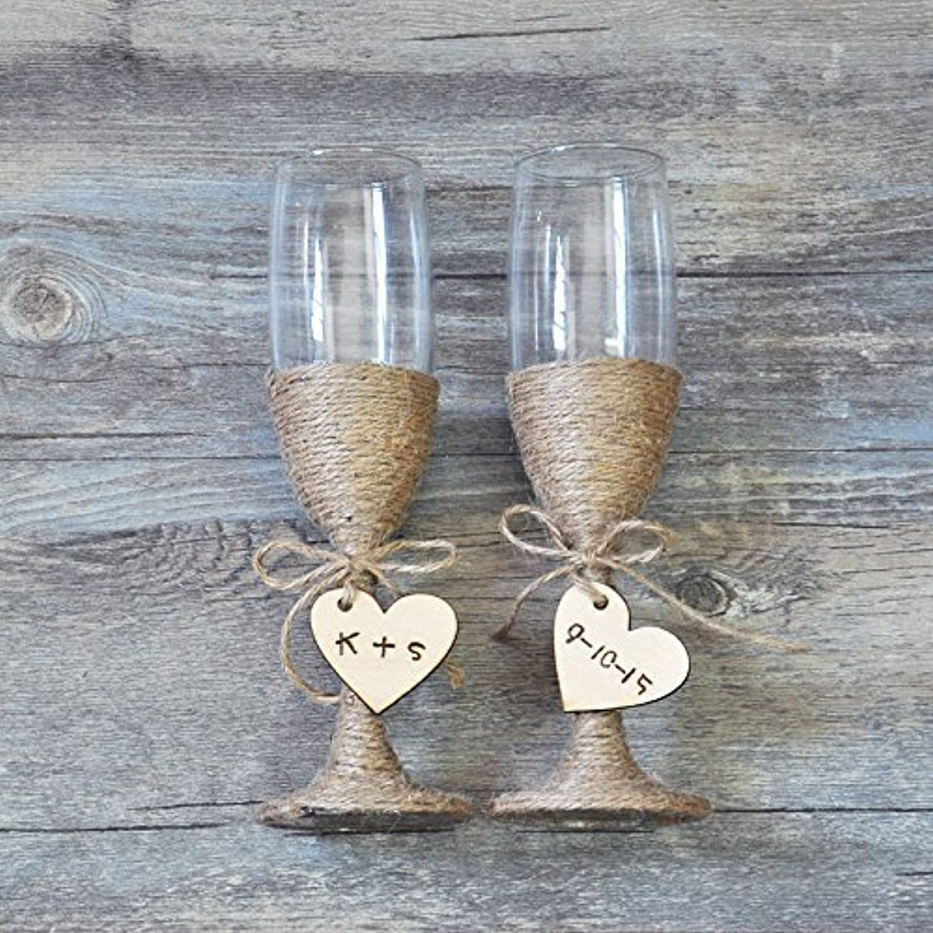 Custom Wedding Glasses Toasting Flutes Glasses Personalized Rustic Wedding Champagne Glasses Bride and Groom Glasses, Rustic Wedding Gifts