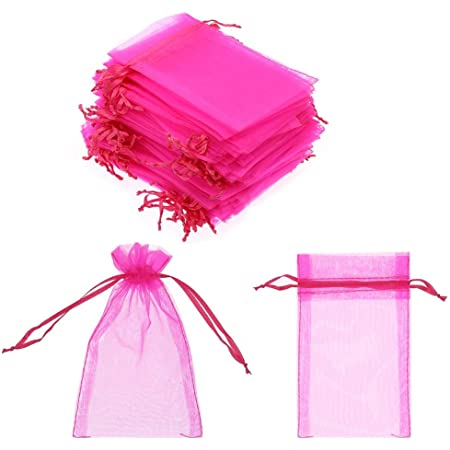 50x Mesh Yarn Bag Transparent Organza Pouch Candy Bags Jewellery Pouch Nice