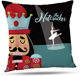 LALILO Throw Pillow Covers, Christmas Nutcracker Car Wooden Soldier Toy Gift Double-Sided Pattern for Sofa Cushion Cover Couch Decoration Home Gift Bed Pillowcase 18x18 inch