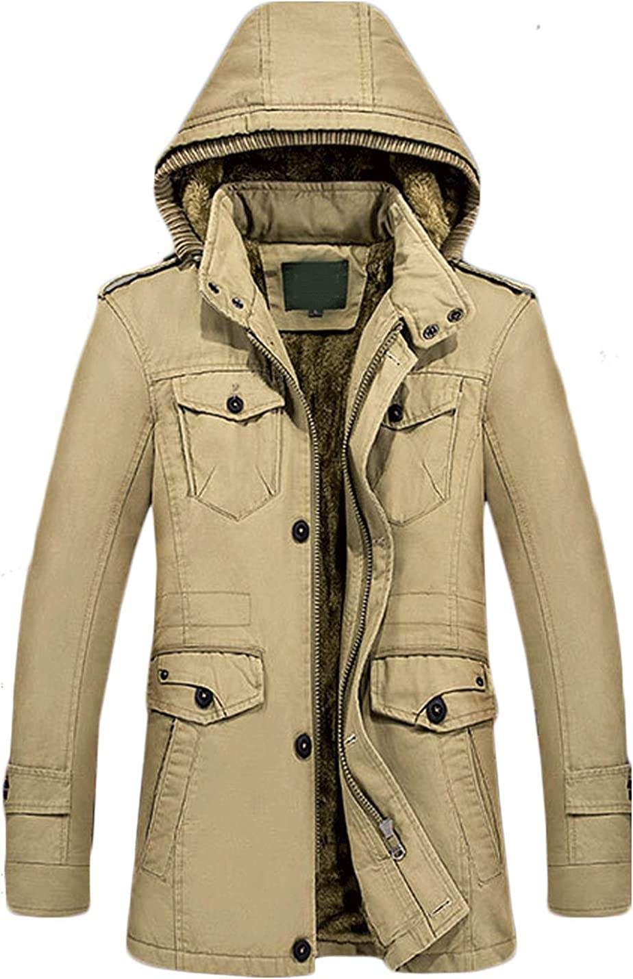 Jenkoon Men's Winter Thicken Faux Fur Parka Jacket with Detachable Hood