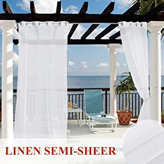 StangH Pergola Outdoor Sheer Curtains Panels - Waterproof Linen Look Privacy Sheer Drapes with Durable Grommet Top Shade Blinds for Gazebo/Sunroom, 54 Wide x 108 Long, 1 Pc