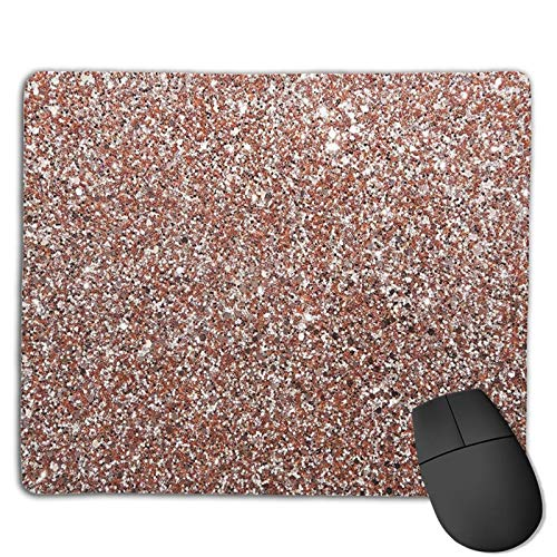 Rose Gold Sparkle Glitter Blurred (2) Customized Designs Non-Slip Rubber Base Gaming Mouse Pads for Mac,22cm×18cm, Pc, Computers. Ideal for Working Or Game