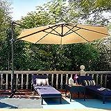 PHI VILLA 11ft Patio Cantilever Umbrella Outdoor Large Windproof Offset Hanging Umbrellas with Cross Base, 8 Ribs(Beige)