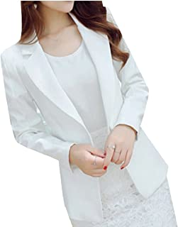 Maweisong Women's Long Sleeve Suit Solid Casual Work Office One Button Blazer