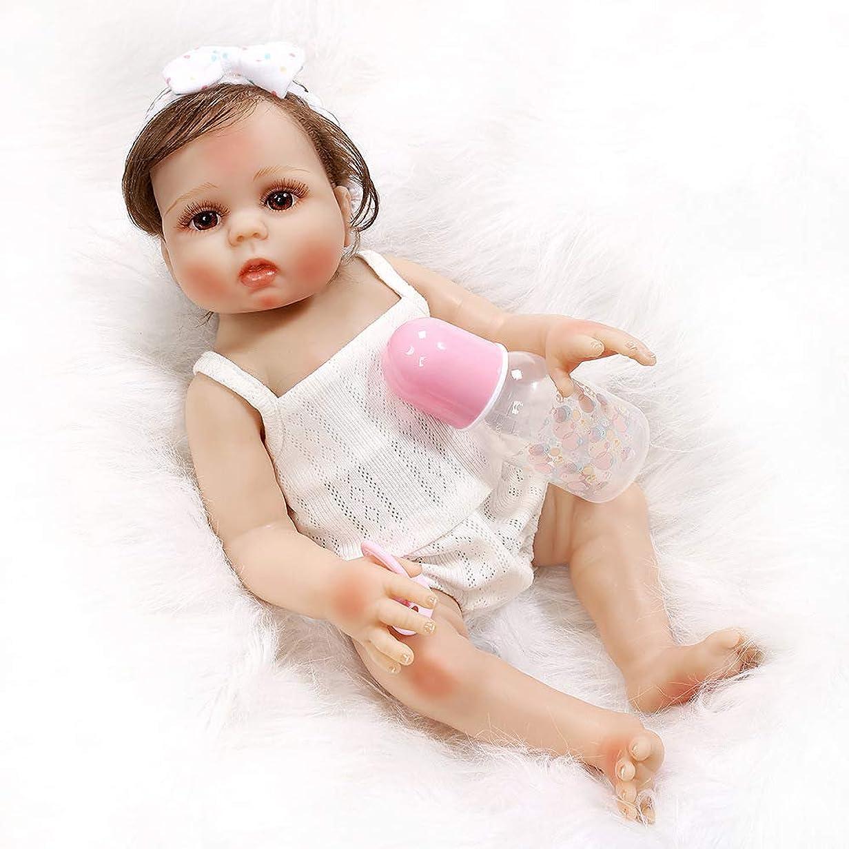 湿地作詞家タービンリボーンベイビードールバス48センチ19インチリアルな新生児オープンアイズガールドールフルボディシリコンビニール防水おもちゃおしゃぶり,B