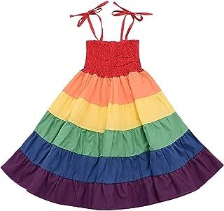 NewZhu Little Baby Girls Rainbow Dress Toddler Princess Sleeveless Halter Beach Tutu Sundress, Kids Summer Twirl Dress