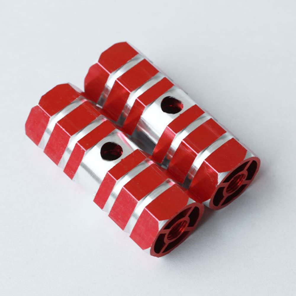 2x Hexagonal Cross-Section Red Metal Import F trust Alloy Foot Pegs Kid-Sized