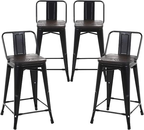 布施曼 4 件套哑光黑色木制座椅 24 英寸柜台高度金属吧台凳子中号靠背室内室外
