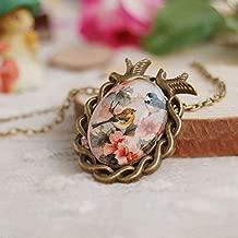 Cameo Oval Women Vintage Pendant Glass Cabochon Necklace Flower Bird