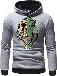 DONTAL Men's Hooded Sweatshirt Pullover Long Sleeve Print Autumn Sweater Turtleneck Sweater